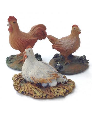 Coq et deux poules 12-16 cm.