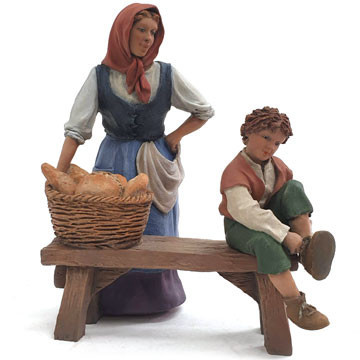Mother and child on a bench 15cm.