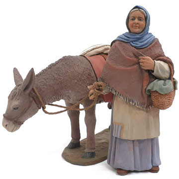 Grandmother and donkey 15cm.
