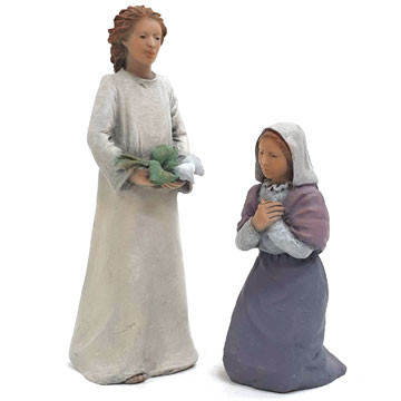 Virgin Mary and angel 13cm.