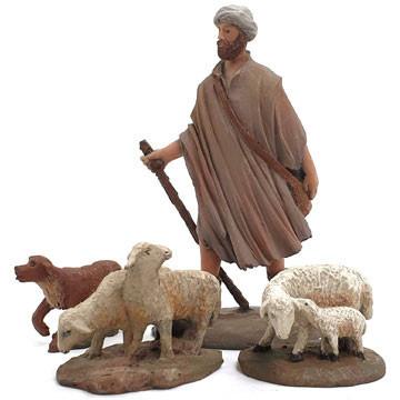Shepherd and flock 9cm.