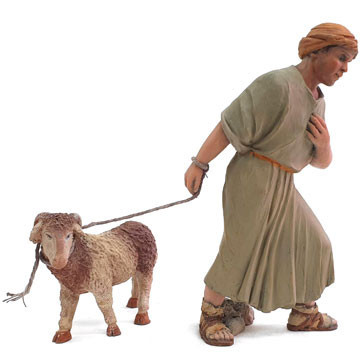 Shepherd standing with a ram 20cm.